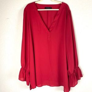 Eloquii Red Bed Sleeve V Neck Long Sleeve Top 28